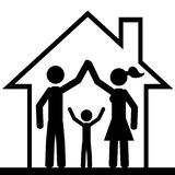 In house. Family inside the house. It is a stick figure vector. EPS10 Royalty Free Stock Photo