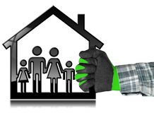 House with a Family Isolated on White. Hand with a work glove holding a black house symbol with a family - 3D illustration. Isolated on a white background Stock Images