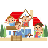 House and family. A house and a family and new house Stock Photos