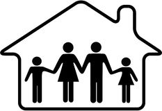 House family parents children safe in home Stock Photo
