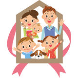 House family. The house purchase and close three-generation family Stock Photography