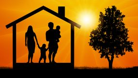House family silhouette vector. Royalty Free Stock Photos