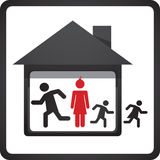 House and family symbol. Draw stock illustration