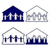 House with family symbols vector illustration Stock Photos