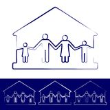 House with family symbols vector illustration Royalty Free Stock Photography
