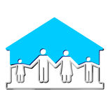 House with family symbols vector illustration Royalty Free Stock Photos