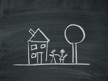 House family tree blackboard chalk Stock Photos