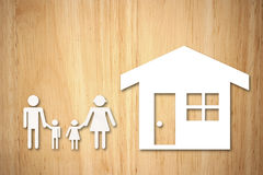 House and family on wood Royalty Free Stock Images