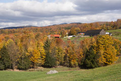 House and farm buildings in the fall. South of Quebec. Beautiful colors typically autumnal Royalty Free Stock Images