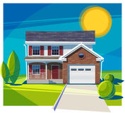 House fasade with garage. Vector illustration Stock Photography