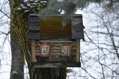 The house feeder on the tree for pliz. Caring for birds. In winter. The original tree house. Forest Park Royalty Free Stock Photo