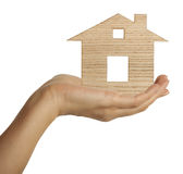 House in female hand Royalty Free Stock Photos
