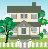 House with a fence. royalty free illustration