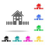 House with a fence icon. Elements of real estate in multi colored icons. Premium quality graphic design icon. Simple icon for webs. Ites, web design, mobile app Stock Photos