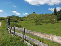 House fence mountain dolomites italy Stock Images