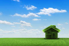 House and Field. Grass house on a grass field, front view, 3d rendering Stock Images