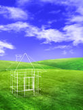 House on field sunshine Royalty Free Stock Images