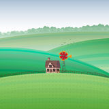 House by the Field. Vector cartoon illustration of a house by the field Stock Photo