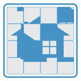 House fifteen puzzle. Abstract fifteen puzzle game with private house on it as aim of the game Royalty Free Stock Image