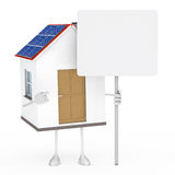 House figure. Solar house figure stand and hold billboard Stock Images