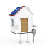 House figure with key. Solar house figure stand on white background Royalty Free Stock Photography