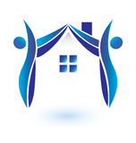 House and figures. Creative design Stock Images