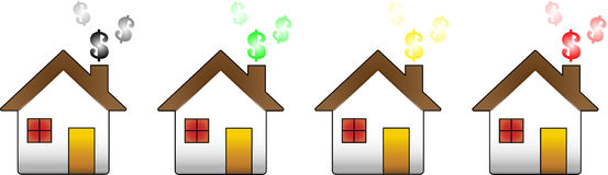 House Financial Crisis. Houses showing the dollar symbol representing the financial crisis Stock Image