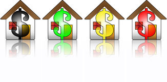 House Financial Crisis. Houses showing the dollar symbol representing the financial crisis Royalty Free Stock Photos