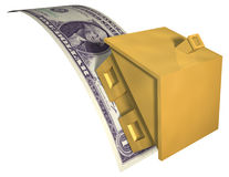 House Financial Stress. A gold house on a dollar bill, bending under the stress. Symbol of housing market crash, investment risk, or a downturn in the housing Royalty Free Stock Photo