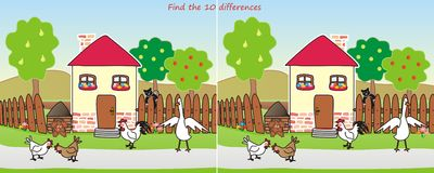 House-find 10 differences. Find ten differences in figures - animals by the house Stock Photography