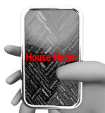 House Finder Represents Web Site And Discover. House Finder Meaning Web Site And Home Royalty Free Stock Photos