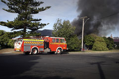 House Fire 02. Firemen attend a house fire in Haumoana, New Zealand Stock Photo