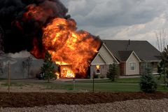 House fire 1. A house fire caused by a lightning strike Royalty Free Stock Images