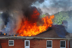 House fire 1. The fire in house. Destruction of building Royalty Free Stock Photo