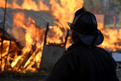 House on fire. House fully involved in flames Stock Photography