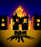 House on fire. A family, and their neighbours, watch their house burn down Stock Illustration