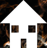 House Fire. Illustration of a house with smoke in the background Royalty Free Stock Images