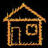 The house on fire Stock Images