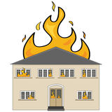House on fire. Cartoon illustration showing a two-storey house on fire Stock Images
