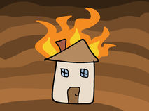 House fire. Doodle. Tragic disaster - insurance claim concept. Simple child-like illustration Stock Photo