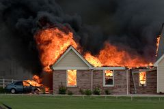 House fire 3. A house fire caused by a lightning strike Royalty Free Stock Photo