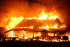 House Fire. Fully engulfed structure fire Royalty Free Stock Image