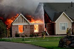 House fire 4. A house fire caused by a lightning strike Royalty Free Stock Photos