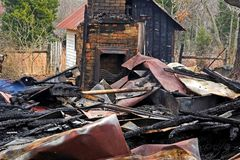 House fire 4 stock photography