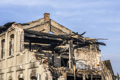The house after the fire. Royalty Free Stock Image