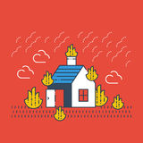 House on fire, burning building. Fire coverage, arson insurance. Natural disaster concept, vector illustration Royalty Free Stock Images