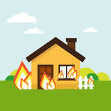 House on fire. House burns vector illustration. Property insurance against fire Stock Photos