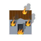 House fire bursts windows roof. Vector illustration eps 10 Royalty Free Stock Images