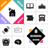 House fire computer symbol. House fire Icon and Set Perfect Back to School pictogram. Contains such Icons as Schoolbook, School  Building, School Bus, Textbooks Royalty Free Stock Image