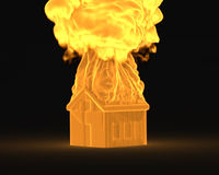 House in the fire concept. 3d house in the fire concept Royalty Free Stock Photos